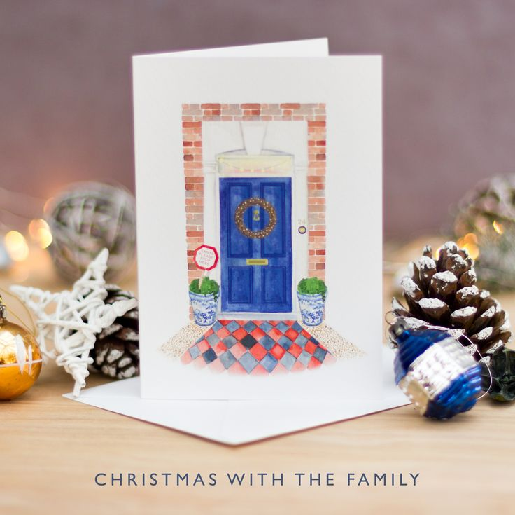Hand Painted Christmas Card | Watercolour Christmas Card | Blue Front Door | Please stop here Santa | Blue and White China | Not on the High Street