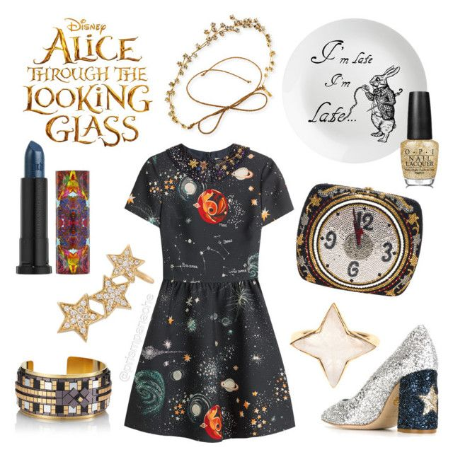 "Alice Through the Looking Glass // Time ⏳⭐️ #udinwonderland #JenniferBehr Orion Crystal Circlet Headband // #UrbanDecay #AliceThroughTheLookingGlass ""Time"" Lipstick // Valentino Printed Wool-Silk Dress // #OPI ""Mirror Escape"" #Nailpolish // #JudithLeiber Swarovski Crystal Clock Millennial #Minaudiere // #Alinka Stasia Diamond Triple Star Ear Cuff // #Hirschell Gold Mosiac Cuff // #TheodoraWarre #Moonstone Ring //  #ChiaraFerragni Stars Glitter Pumps // #opinailpolish #alice #wonderland…"