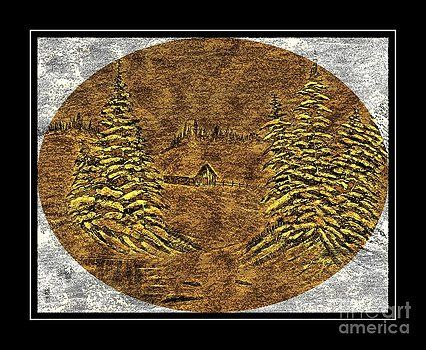 Barbara Griffin - Brass-type Etching - Oval - Cabin Between the Trees