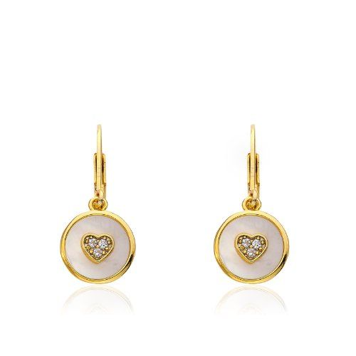 Little Miss Twin Stars 14k Gold-Plated Cubic Zirconia Heart Mother-Of-Pearl Circle Drop Earrings