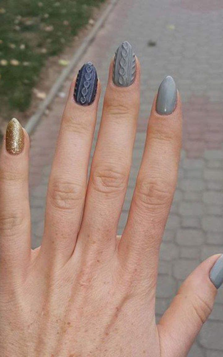 42 best knit nails inspirations - sweterkowy manicure images on