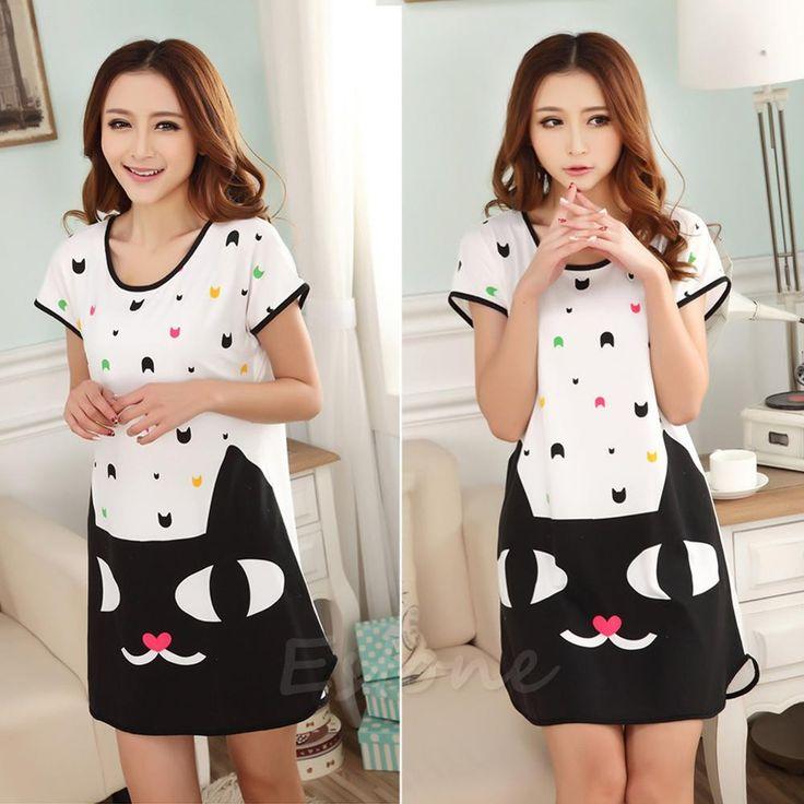 Hot Sell! New Fashion Women Cute Cartoon Polka Dot Sleepwear Short Sleeve Sleepshirt Sleepdress 10 Styles Free Shipping