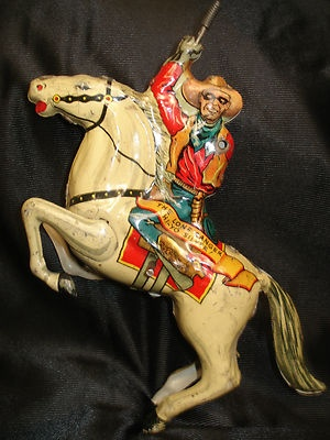 Vintage 1938 Marx The Lone Ranger Hi Yo Silver Tin Lithograph Wind Up Toy