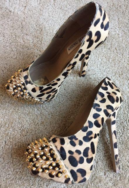 Steve Madden Women's Cheetah Print Studded Platform High Heels Size 7.5 M | eBay
