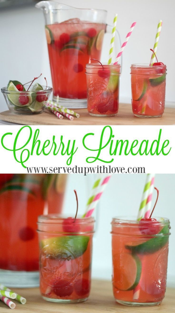 Cherry Limeade recipe from Served Up with Love. Super simple ingredients come together to make a super refreshing summertime drink. http://www.servedupwithlove.com