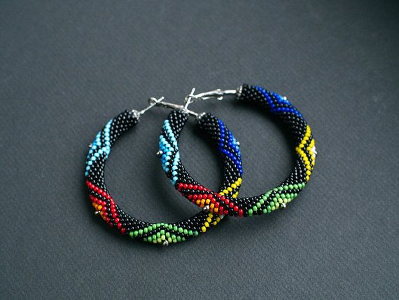 Colorful African Style Earrings, Colorful Zulu Inspired Hoops, Big Hoop Earrings, Ethnic Beadwork Earrings, Maasai Inspired African Earrings