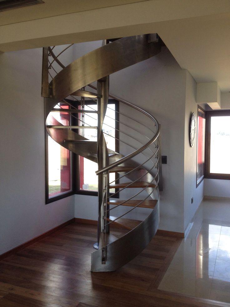 escalera caracol moderna acero inoxidable