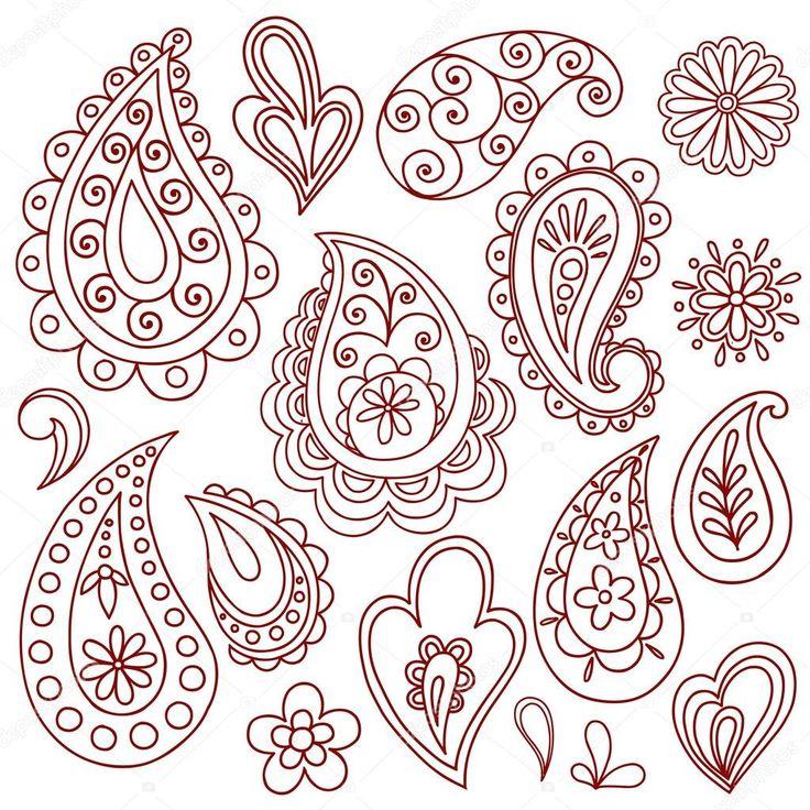 Henna / Mehndi Paisley Flower Doodle Design Elements Set- Vector Illustration