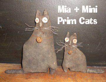 Primitive Mia and Mini Prim Cat dolls by Crowsroostprims on Etsy, $19.00: Primitive Crafts, Folkart Primitive, Prim Cat, Cat Crows, Primitive Mia, Cat Dolls, Primitive Cats, Minis Prim, Folk Art Primitive
