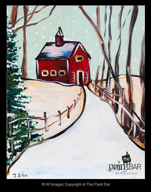Red Barn on a Snowy Path Painting - Jackie Schon, The Paint Bar