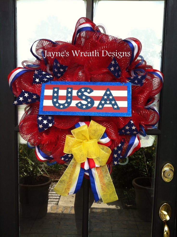 """Red, White, and Blue with """"USA"""" sign and yellow bow"""