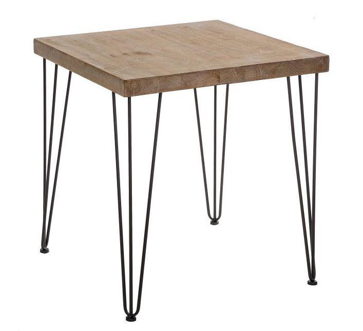 Mesa cocina en madera de abeto y patas de hierro 70 x 70 x for Mesa 70x70 madera