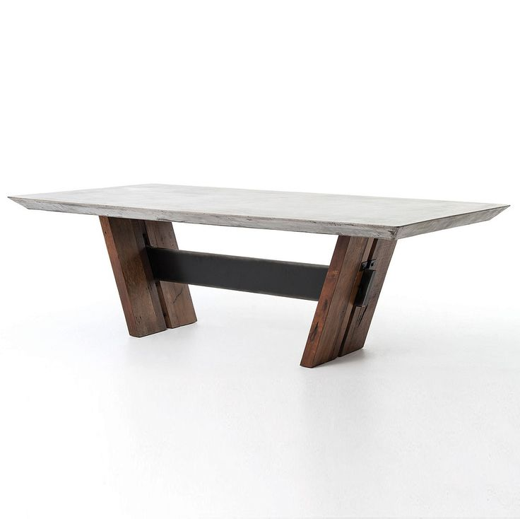 Bonham Reclaimed Wood And Concrete Top Dining Table