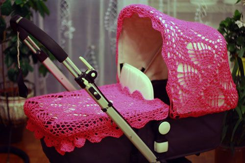 Crochet canopy & apron covers for Bugaboo strollers