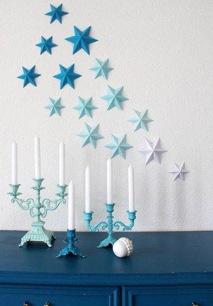 Объемные бумажные звезды