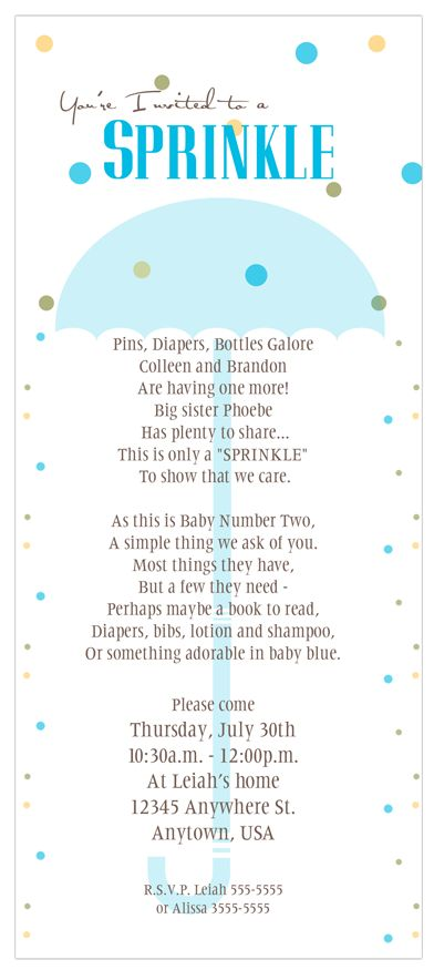 "Baby ""Sprinkle"" instead of Shower for the Mother to be - Big Ideas Little Cents"