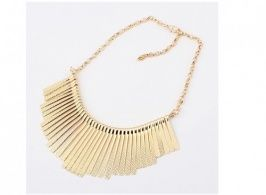Gold Necklace Individual Tassels Decorated Retro Necklace