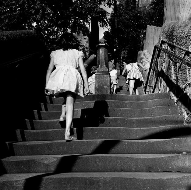 Untitled [Kids on street, Woolloomooloo NSW] 1961 selenium toned gelatin silver print  by Sue Ford (1943-2009) - an Australian born photographer, film maker, and photomedia artist