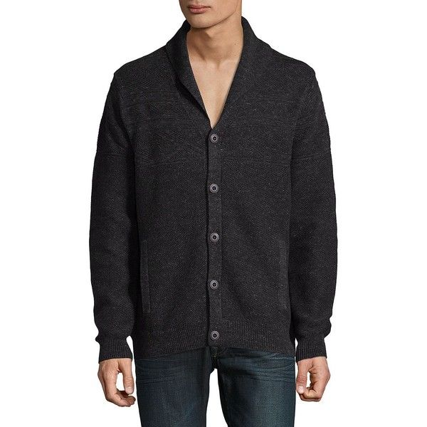 Tommy Bahama Men's Shawl Collar Cotton Cardigan ($83) ❤ liked on Polyvore featuring men's fashion, men's clothing, men's sweaters, coffee heather, mens sweaters, mens shawl collar sweater, mens cotton sweaters, mens shawl collar cardigan sweater and mens long sleeve polo sweater