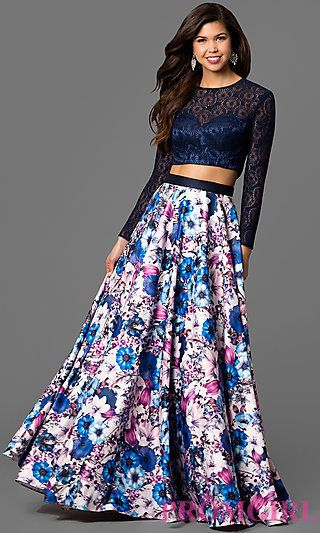 Two-Piece Long Sleeve Prom Dress with Long Floral Skirt at PromGirl.com