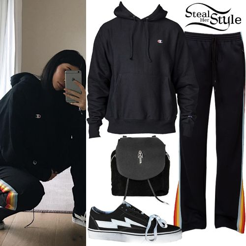 Kylie Jenner posted some pictures on instagram yesterday wearing a Champion Reverse Weave Hoodie Sweatshirt ($55.00), Chloé Rainbow-Stripe Cady Track Pants ($718.00 – wrong color), a Chrome Hearts Drawstring Suede Backpack ($7,183) and Revenge x Storm Vans Sneakers ($200.00).
