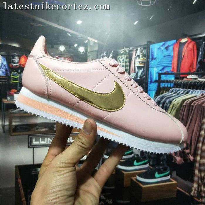 nowe style sprzedaż online buty do biegania Fashion Nike Classic Cortez Girls Shoe Leather Pink Golden ...