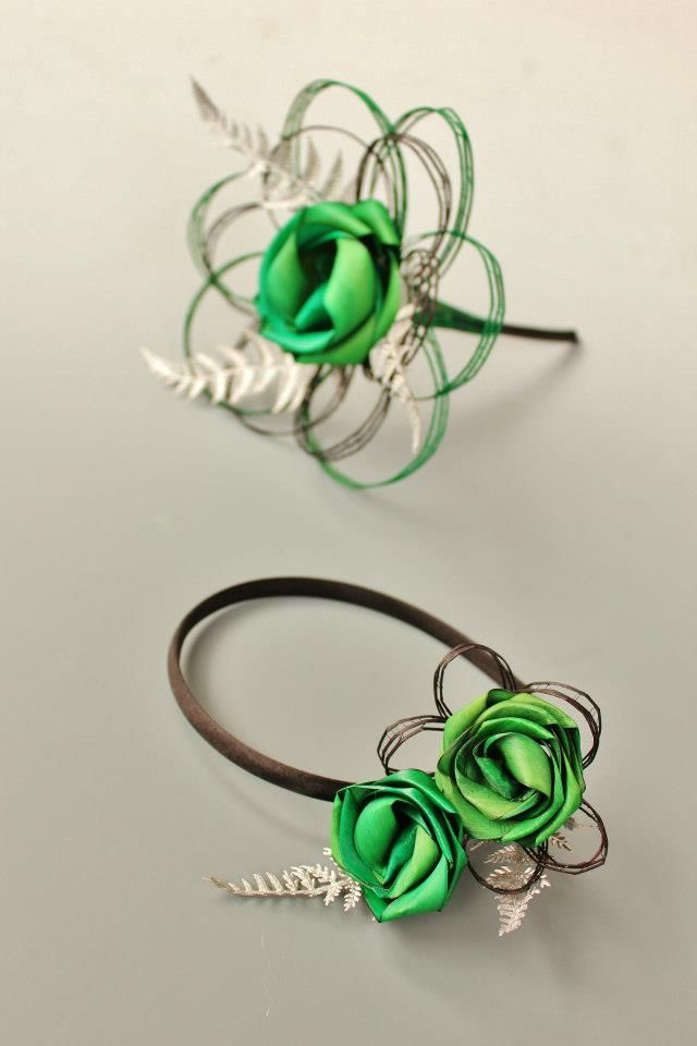 Single flower bouquet & headband with silver fern. www.flaxation.co.nz