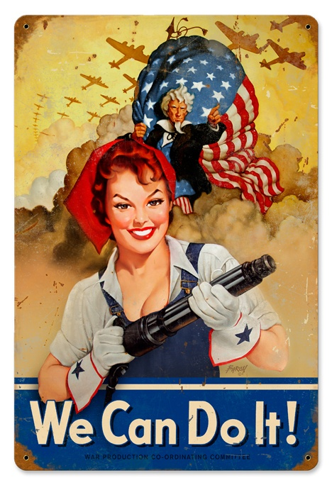 We Can Do It Rosie the Riveter & Uncle Sam metal sign - Modern day rendering of Rosie this one with Red Hair
