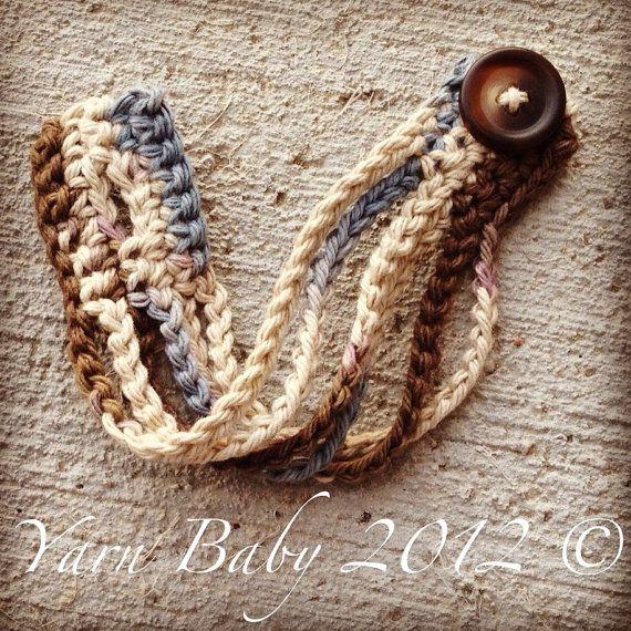 Cream Crochet cuff/bracelet w/ handmade wooden by YarnBabyLLC