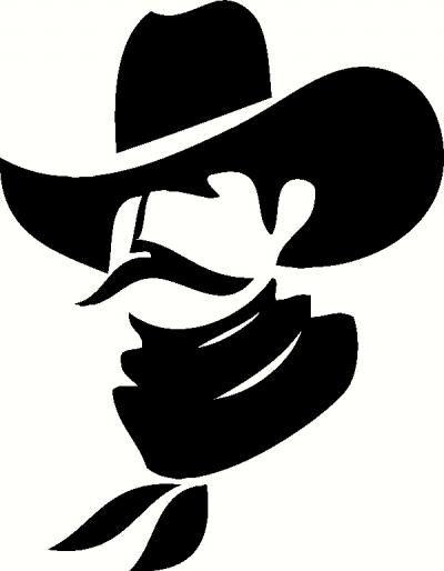 Cowboy profile silhouette clip art - photo#2