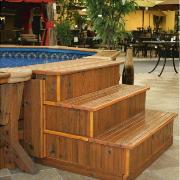 17 best ideas about above ground pool stairs on pinterest for Above ground pool step ideas