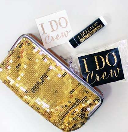 A luxurious, fun and inexpensive bachelorette party favor in this seasons hottest color - Gold! This premium gold sequin bag snaps to close, is filled with an I Do Crew Lip Balm, an I Do Crew glitter temporary tattoo, and an I Do Crew Jelly Bean Pack.