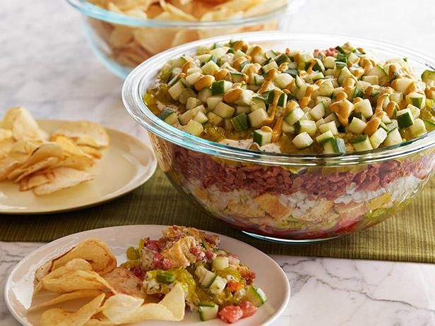 Get Ten-Layer Chicago Dog Dip Recipe from Food Network
