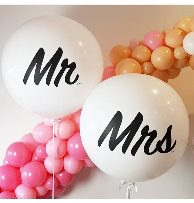 Custom printed 3ft round balloons - Mr and Mrs. cute!