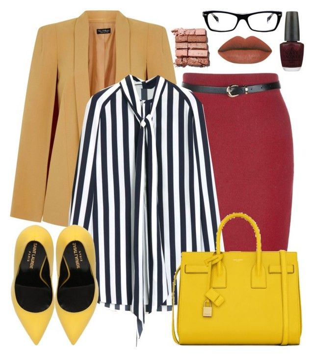 2016 February 15: Work Wear 1 by edwardsboysmom on Polyvore featuring Mulberry, Miss Selfridge, Yves Saint Laurent, Ray-Ban, Bobbi Brown Cosmetics, OPI, women's clothing, women's fashion, women and female