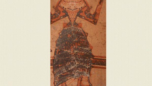 Vase mycénien représentant une femme (une déesse ? une princesse ?) habillée avec des vêtements mycéniens, retrouvé à Chypre et daté de l'Âge du Bronze (entre 1600 et 1150 av. J.-C.)