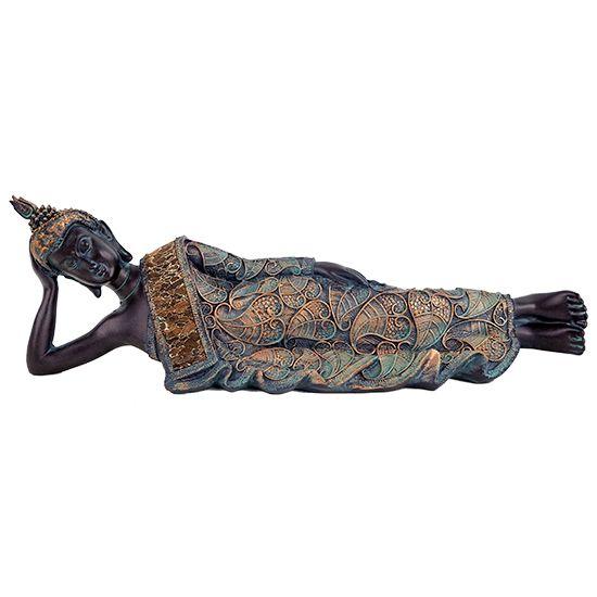 Buddha Antiklook Kleidung mit Muster von Bodhiblättern Der Bronzefarbende liegende Buddha im Antiklook hat eine Größe von 37x9x11 cm und hat wunderschöne Wirkung auf jeden. Es ist ein liegender Buddha. Die Legende wird wie folgt...