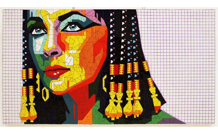 Liz Taylor´s Cleopatra mosaic portrait