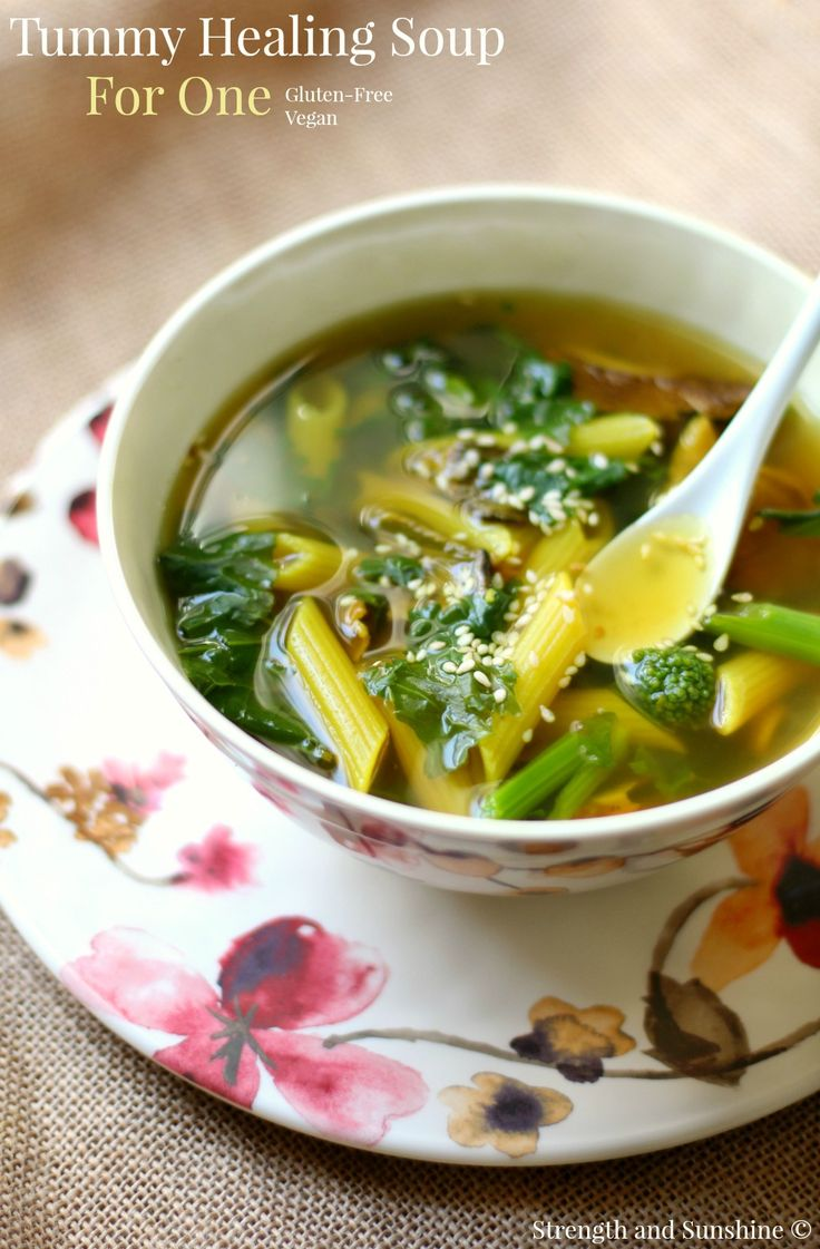Tummy Healing Soup For One   Strength and Sunshine @RebeccaGF666 Soup for the soul. A gluten-free and vegan tummy healing soup for one full of anti-inflammatory and nourishing ingredients. Turmeric, ginger, veggies, spices, and a bit of pasta to bring you all the love your body needs. @BarillaUS #GlutenFreeBarilla #Pmedia #ad