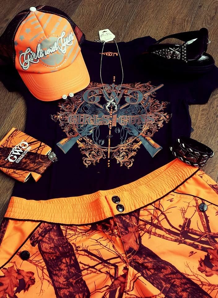 Set #FIRE to your #FASHION with a #GirlswithGuns Insanity Tee & @Mossy Oak Blaze Orange Accessories!  www.gwgclothing.com