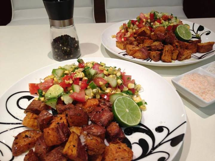Ashy Bines - Coconut Roasted Sweet Potato and Raw Corn Salsa Salad Another AMAZING Recipe from the Incredible Rochelle!!  Check out her page and insanely delish recipes!! https://www.facebook.com/chelleskitchen