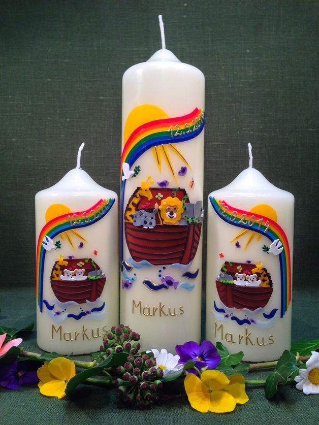 """Taufkerzen - Set - Taufkerze """"Arche Noah"""" mit zwei... - ein Designerstück von Kerzenstueberl bei DaWanda"""