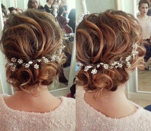 Wedding Hair Curly Loose Updo with Floral Pearl Headband