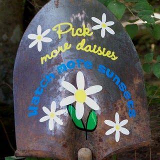 Paint our broken shovel head as a sign. So fun!