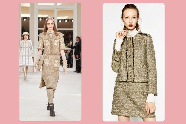 Chanel tweed skirt and jacket (very expensive!) vs. Zara metallic fabric blazer (€59,95)