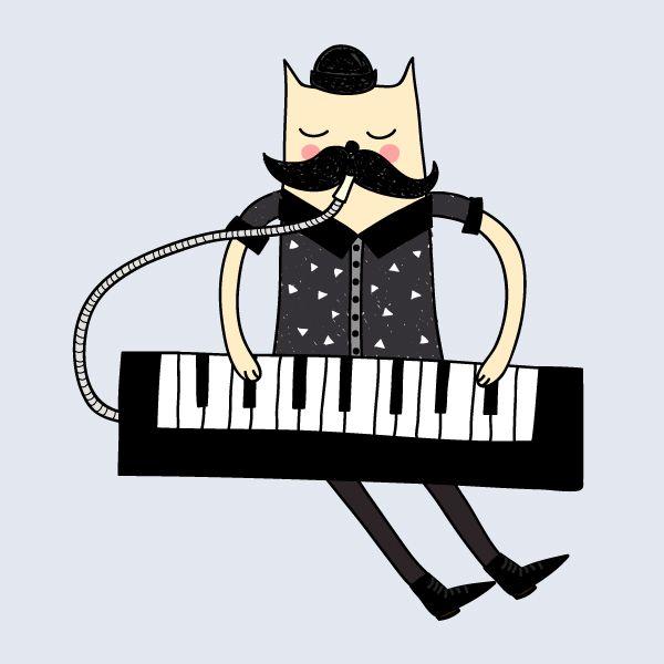 gatito con melódica