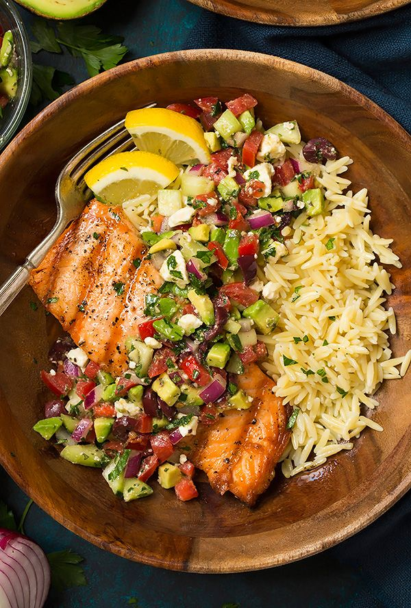 Grilled Salmon with Avocado Greek Salsa and Orzo - Cooking Classy