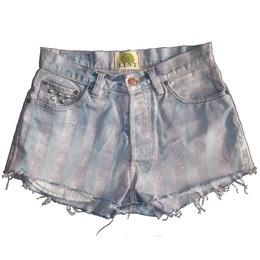 Candy Stripe Denim Shorts by Lent
