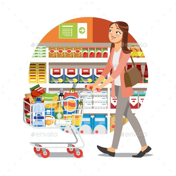 Woman Shopping In Grocery Shop Cartoon Vector Icon Cartoons