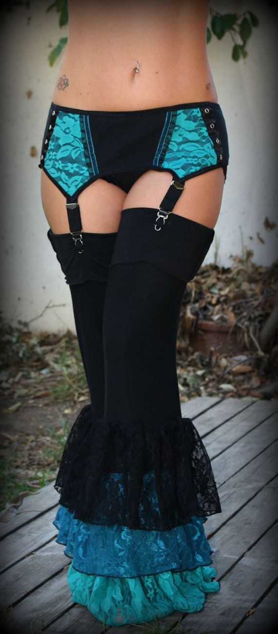 Mermaid Blues Garter Bloomers and Belt by wickedharem on Etsy, $140.00